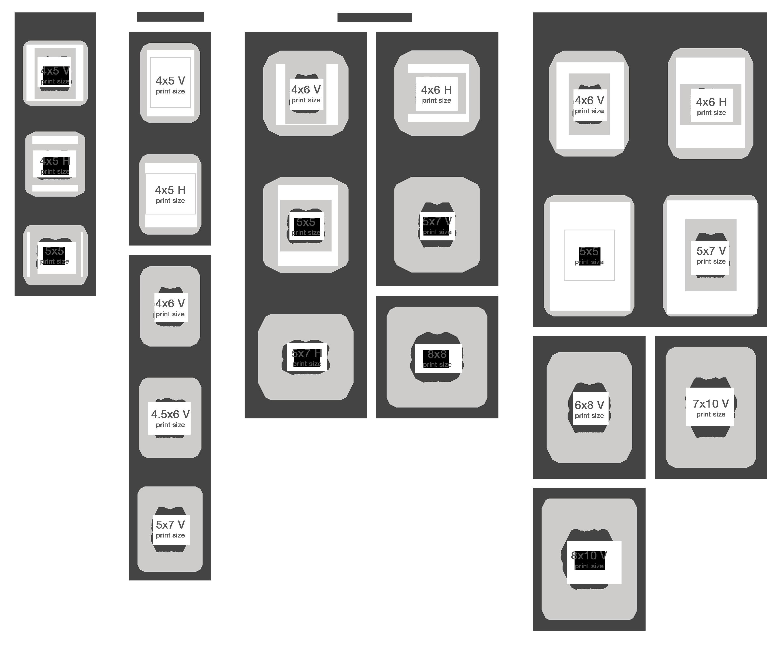 Matted Print Size Chart
